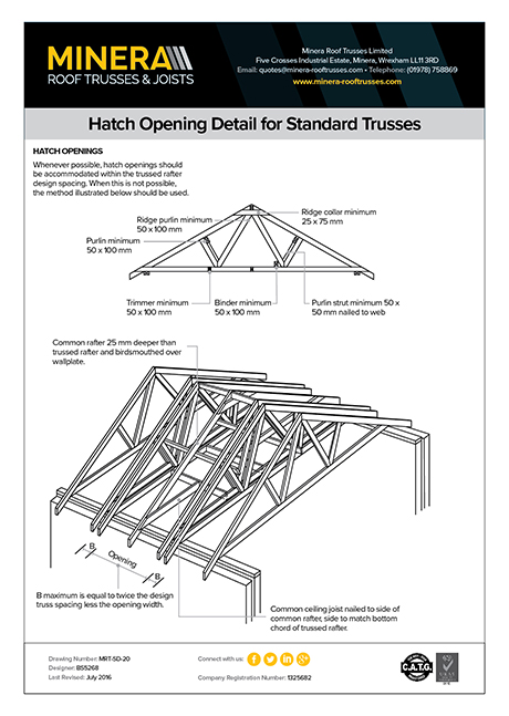 Hatch Opening Detail for Standard Trusses