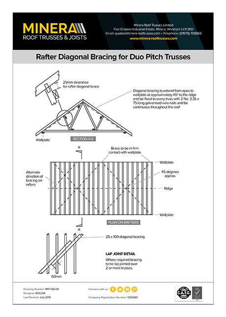 Rafter Diagonal Bracing for Duo-Pitch Trusses