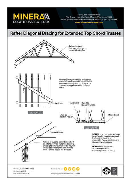 Rafter Diagonal Bracing for Extended Top Chord Trusses